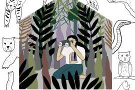 félénkség, visszahúzódó, dzsungel, természet